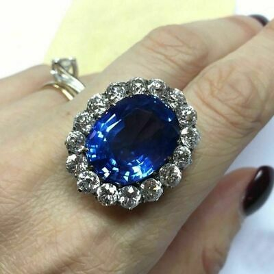 Vintage 8Ct Oval Blue Sapphire Diamond Floral Cocktail Ring 14K White Gold