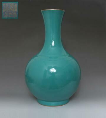 Rare Chinese Old Green Glaze Porcelain Vase With Qianlong Marked 38Cm (625)