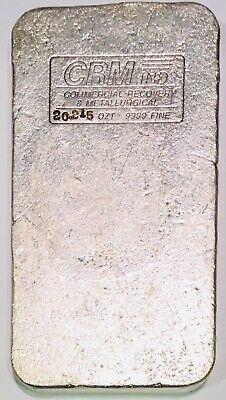 20 Ounce CRM Industries Silver Bar .9999 Vintage 20.215 Oz Troy Hand Poured Loaf