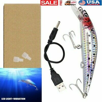 US LED Fishing Lures Electric Vibrate Charging Fish Lure Bait Hook-Rechargeable