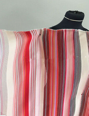 Stripe/Silver Metallic Thread Woven Poly/Cotton Mix Dressmaking Fabric 1.5