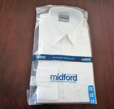 Size 12 Midford Boys long sleeve white school or dress shirt. Unused in packet.