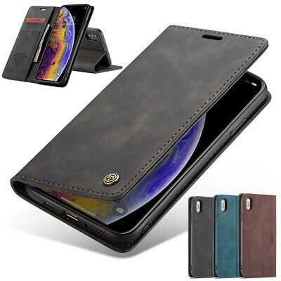 F iPhone 8 7 Plus X XR XS Max Case Magnetic Leather Wallet Card Flip Stand Cover