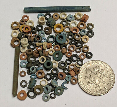More than a Hundred 2500 Year old Ancient Egyptian Faience Mummy Beads (K5686)