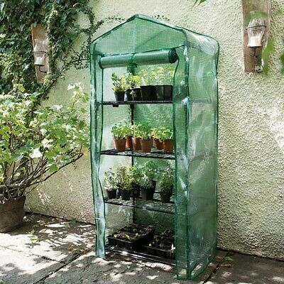 New Gardman 4 Tier Growhouse - Mini Garden Plant Greenhouse with Cover - 08679