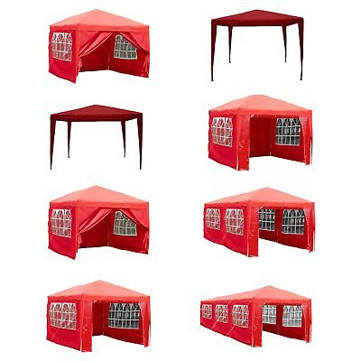 Gazebo Party Tent Marquee Garden Outdoor Canopy Waterproof Pop Up Sides Red