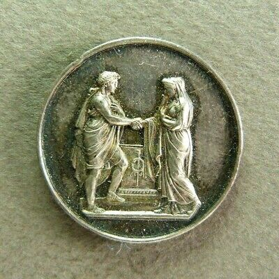 Antique French Wedding Medal Silver Marriage Altar 19th century