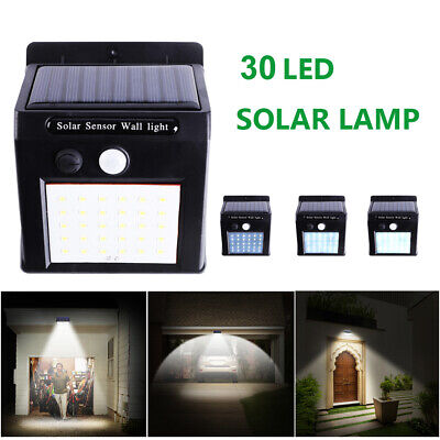 30LED Solar Powered PIR Motion Sensor Wall Security Light Garden Outdoor Lamp
