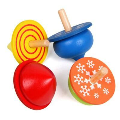Spinning Tops Painted Funny Colorful Kids Toy Wooden Craft Gyro Toy Gift JA