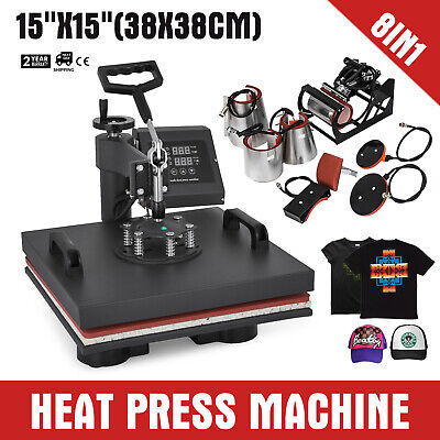 "15""x15"" 8IN1 Combo T-Shirt Heat Press Machine Clamshell 1000W Multifunctional"
