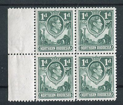 Northern Rhodesia KGVI 1938-52 1d green 'extra boatman' flaw SG28a MNH in block