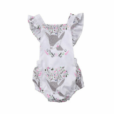 Newborn Baby Girls Animal Floral Romper Jumpsuit Clothes Outfits Summer 2019 New