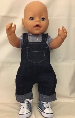Baby Born Boy Dolls Clothes Outfit Dungarees T Shirt Shoes Nappy Fit Boy Doll 16