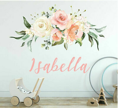 Personalised Custom Name Rose Flower Wall Sticker Baby Home Decor Girls Decal
