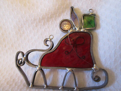 Handcrafted Stained Glass CHRISTMAS  SLEIGH Sled SUN CATCHER  ORNAMENT