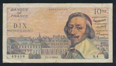 "France: 5-3-1959 10 New Francs ""SCARCE INTERIM ISSUE"". Pick 142a Fine"
