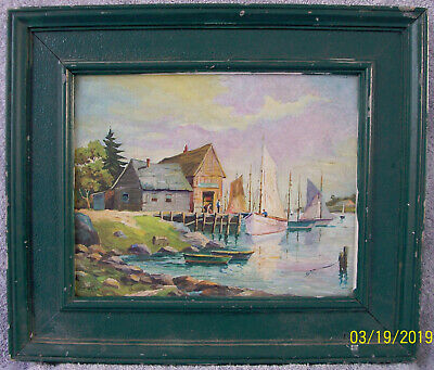 WPA ERA 1930's AUGUST WEISS (1894-1966) AMERICAN IMPRESSIONIST OIL PAINTING 12x9