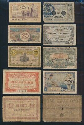 "France: LOCAL ISSUES WWI 1915-1921 Historic Collection 19 Different ""BON POURS"""