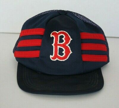 9d34a94d0 Vintage Boston Red Sox MLB 3 Stripe 70s 80s Trucker Hat Rare Baseball Cap