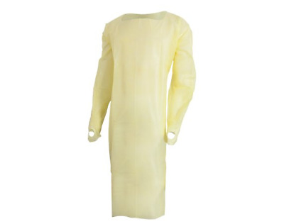 10 PACK! Disposable Isolation Gown Protective Medical Procedure One Size Yellow