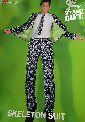 Mens Skeleton Suit fancy dress costume Halloween outfit Stand Out Skull Print