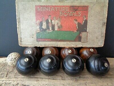 Set Of Antique Or Vintage Biased Lignum Vitae Miniature Carpet Table Bowls, Golf