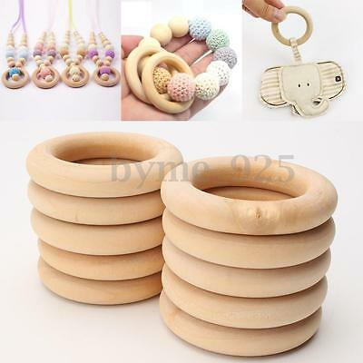 20pcs / Lot Unfinished Natural Wooden Round Rings DIY Wood Craft Bunny 55mm !
