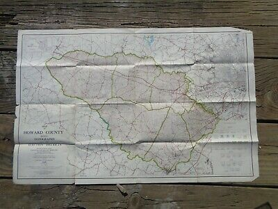 Vintage 1949 LARGE MARYLAND MAP - HOWARD COUNTY Topography & Election Districts