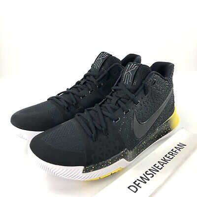 b8bc21a0e6f Nike Kyrie 3 Men s 13 Black Yellow White Mamba Basketball Shoes 852395-901  New