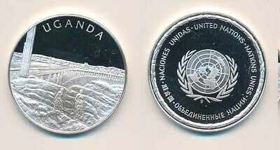 Uganda: .925 Silver Proof Medal (32mm), UN Countries. 12.9g