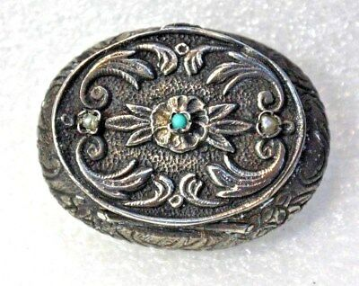Old Antique Vintage Sterling Silver Turquoise & Seed Pearl Repousee Trinket Box