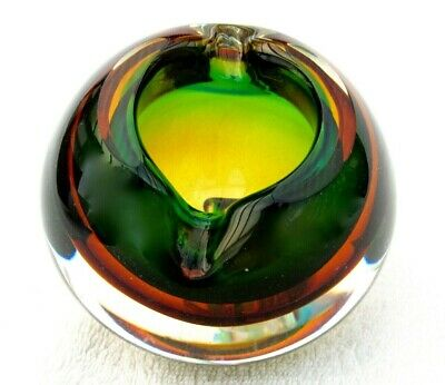 Mid Century Murano Sommerso Submerged Art Glass Space Age Bowl Poli Seguso