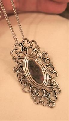 Art-Deco-Inspired Etched Oval Rhinestone Filigree Silvertone Necklace Brooch
