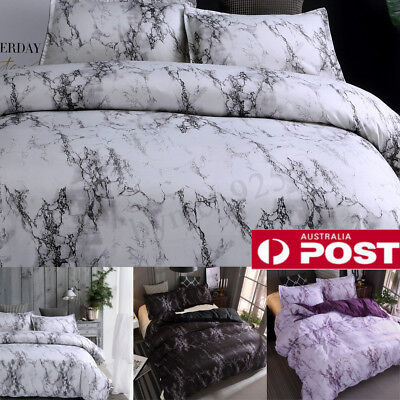 Marble Doona/Quilt Cover Set Single Double Queen King Size Duvet Pillowcase