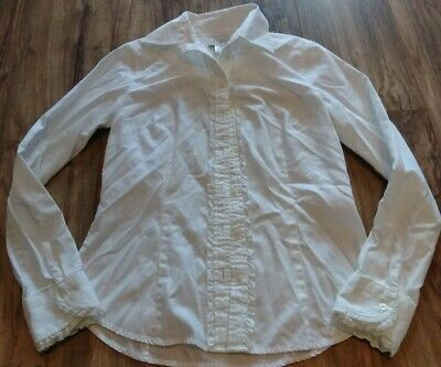 b19c120bb Ann Taylor Loft Blouse Size 6 Long Sleeve Button Down White with Ruffles