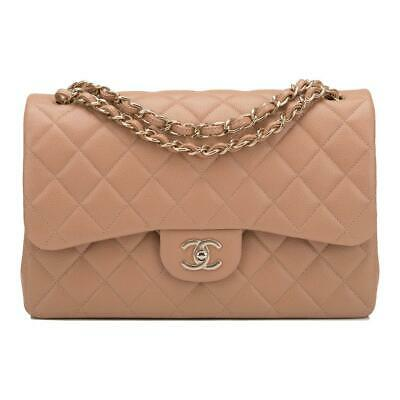 bd78d42c6988c2 CHANEL BEIGE SHINY Quilted Caviar Jumbo Classic Double Flap Bag ...