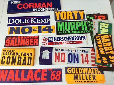 90+ Campaign Stickers* Wallace, Dole, Goldwater, Miller, Cline, Corman *Rare Lot