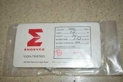 "ENDEVCO 3090C- 12"" - 36pF- 1.0 pC pk-pk - 500˚F ACCELEROMETER CABLE- NEW (#4)"