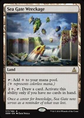 MTG 1x Near Mint, English Sea Gate Wreckage - Foil Oath of the Gatewatch Magic