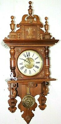 "Vintage Xxl 39"" Long Free Swinger Wall Clock W/ Turned Finials & Carved Topper."