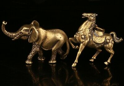 2 Rare Chinese Bronze Hand-Carved Elephant Horse Statue Figurine Old Collection