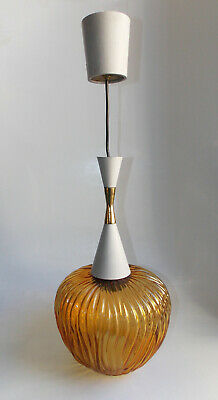A Murano Glass And Brass Ceiling Lamp, 1950 - (Gino Sarfatti Arredoluce)