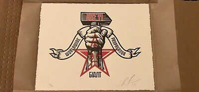 Obey Giant HAMMER AND FIST Signed & Numbered Letterpress Print Shepard Fairey