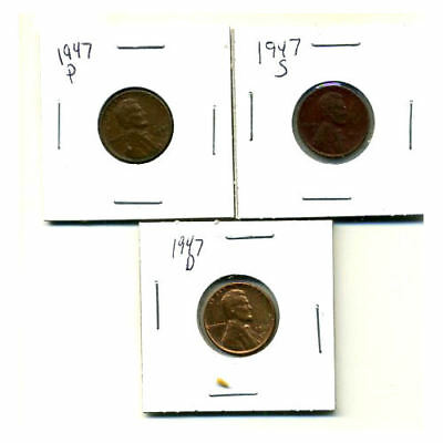 1947 P,d,s Wheat Pennies Lincoln Cents Circulated 2X2 Flips 3 Coin Pds Set#1682