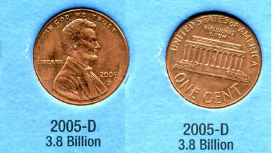 2005 D ABE Lincoln Memorial AMERICAN PENNY 1 CENT US U.S AMERICA ONE COIN #B1