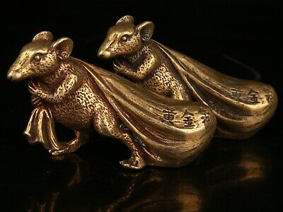 2 Rare Chinese Bronze Hand-Carved Kangaroo Statue Old Collection