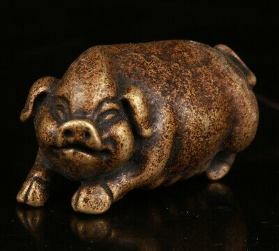 Chinese Bronze Hand Carving Pig Animal Statue Figurine Old Collection
