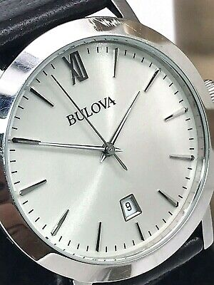 Bulova Men's 96B217 Dress Stainless Steel Brown Leather Band Silver Dial Watch