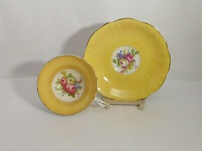 EB Foley X2494 Floral Bouquet w/ Rose Yellow Cup & Saucer Set - EXC. Condition