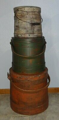 Stack of 3 Old Painted 1800's Firkin-Sugar Bucket-Wooden/Graduated Sizes